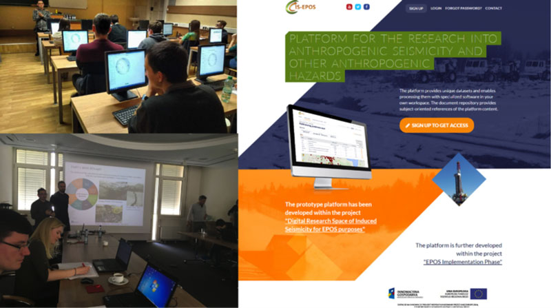 Students during the workshops in Potsdam and Kraków (left) and IS-EPOS platform entry page