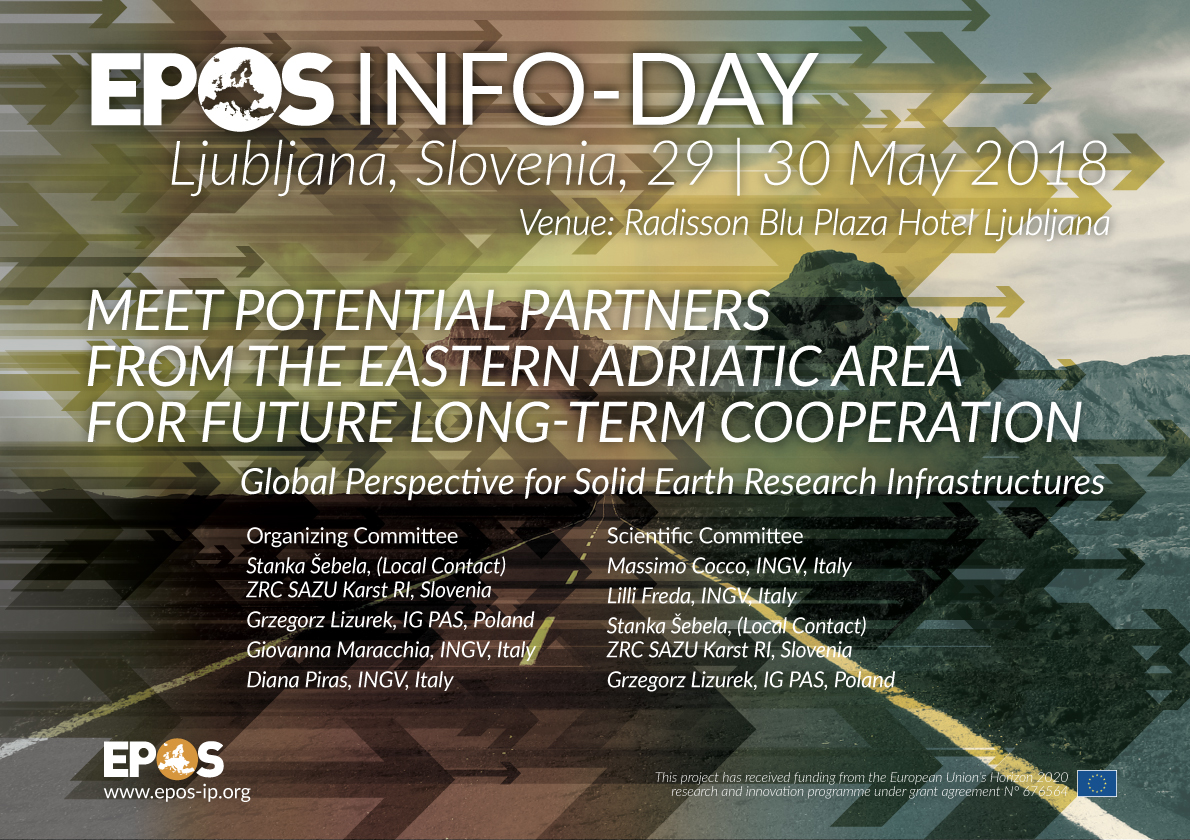 Figure 1. Flyer of the EPOS Info-Day (Slovenia, 29 - 30 May, 2018)