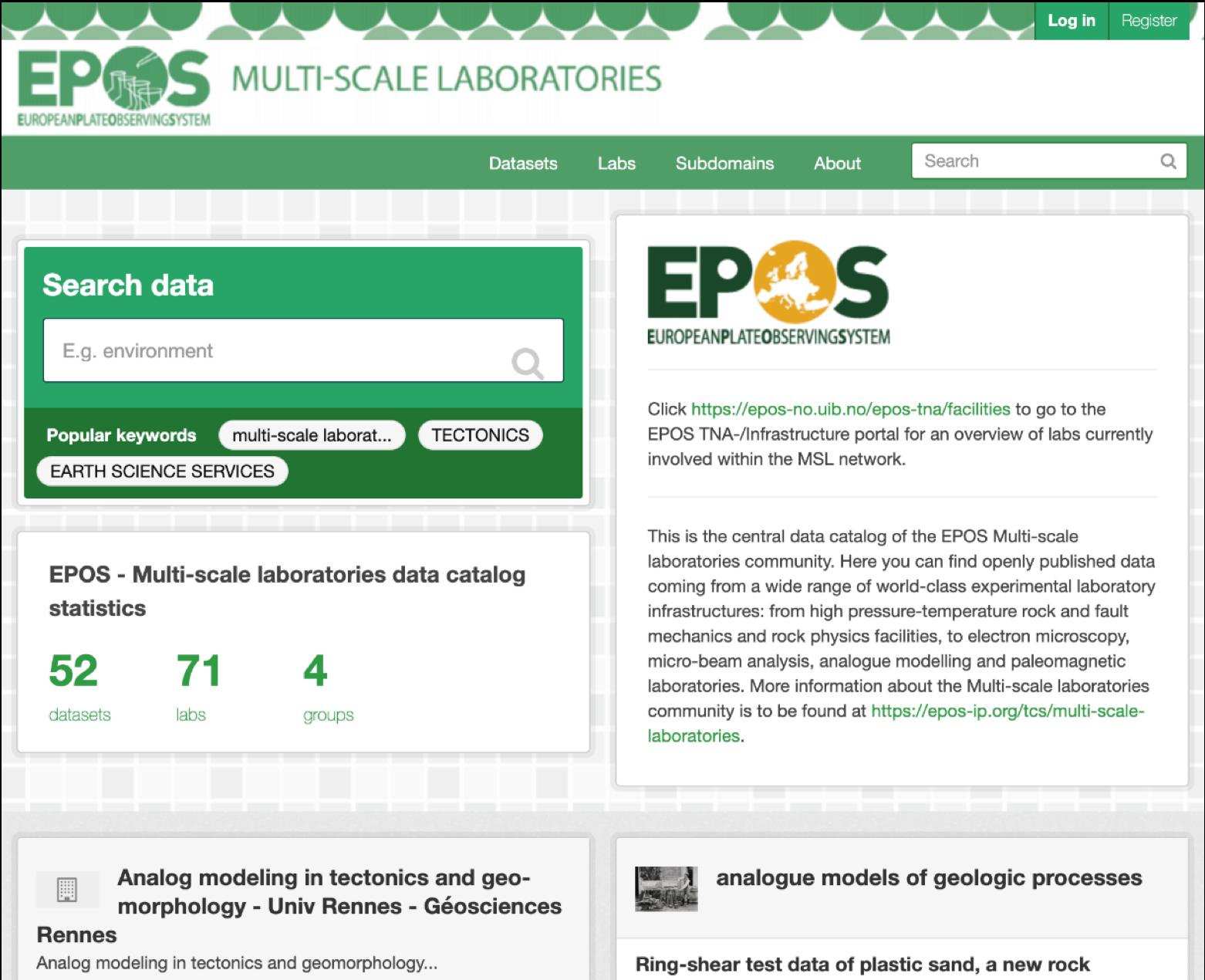 The TCS Portal (catalogue service) - https://epos-msl.uu.nl/