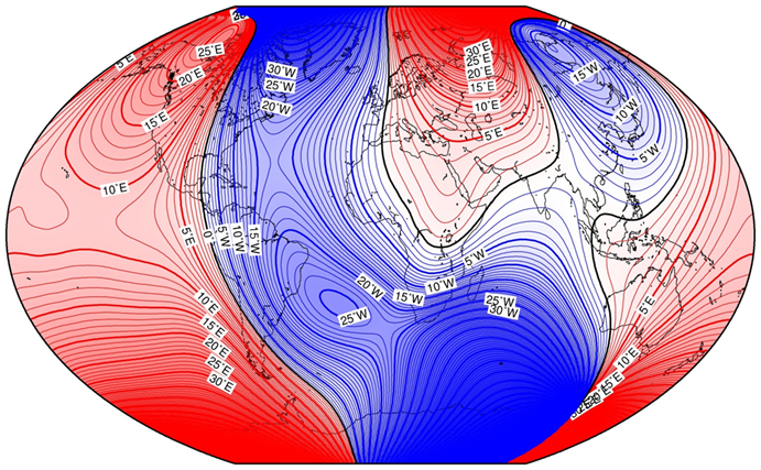 Magnetic declination according the World Magnetic Model 2015