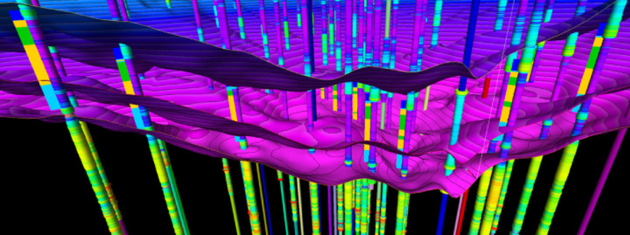 3D modelled geological interfaces and borehole data set in sedimentary basin context – © BRGM, French Geological Survey